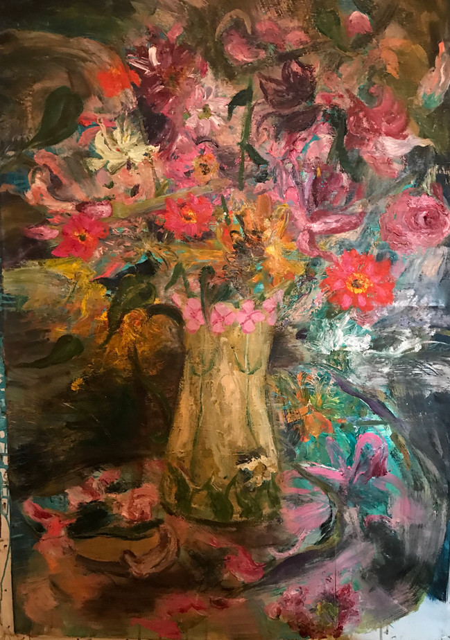 """Yellow Jar with Flowers, Oil on canvas 2019, 30"""" x 46"""", 76cm x 117cm"""