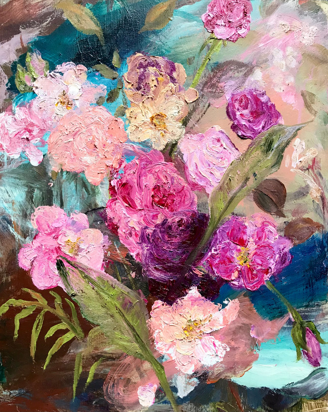 """Universal Rose, 2021, 20""""x16"""" oil on board"""