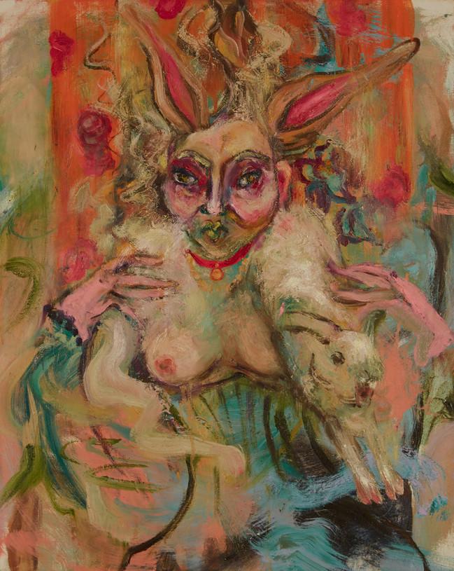 "Bunny Woman, 2019, oil on linen, 36""x24"", 90cm x 60cm"
