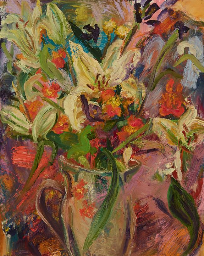 "Lilies, 2020, oil on board, 22""x 18"", 56cm x 46cm"