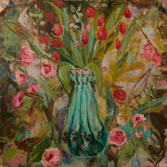 "Angel Vase, 2019, oil on board, 36""x36"", 91cm x 91cm"