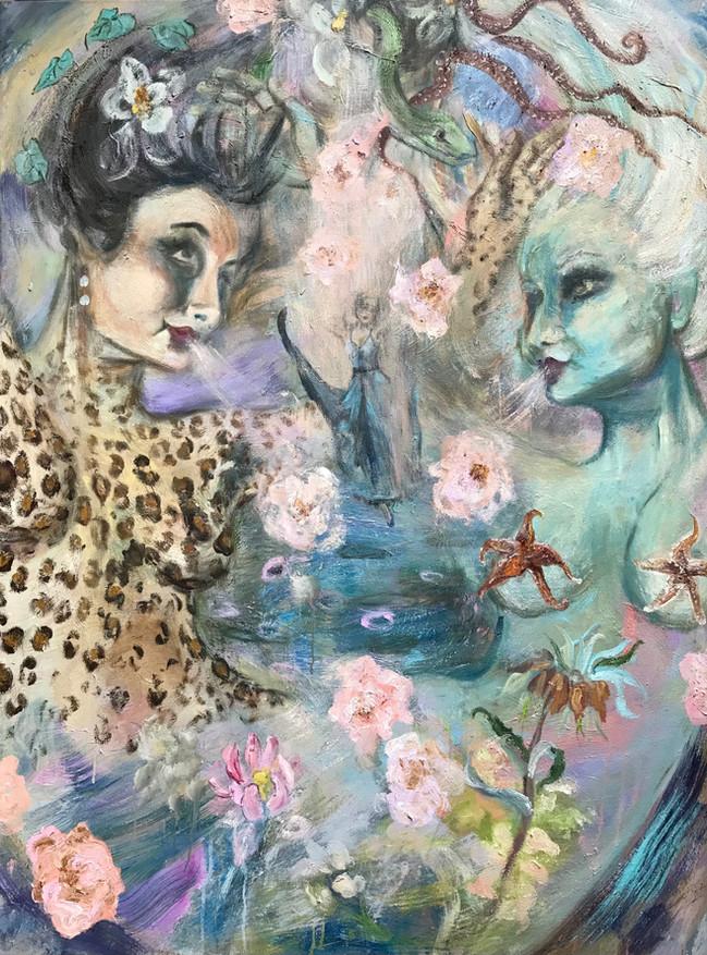 "Visitation, 2021, 48""x36"" oil on canvas"