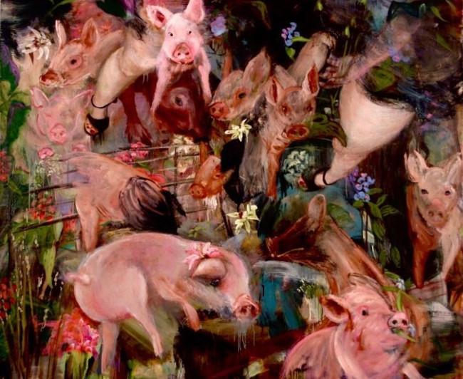 """Piggy, 2008, oil on linen, 60""""x72"""", 152cm x 183cm"""