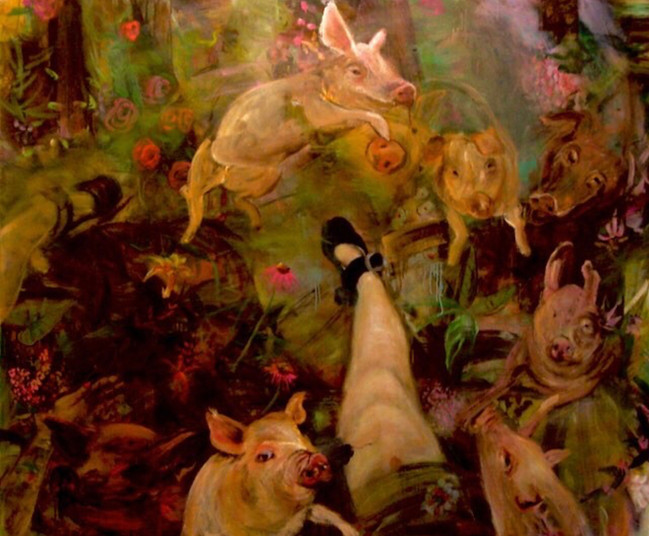 """Piggy Party, 2009, oil on linen, 60""""x72"""", 152cm x 183cm"""