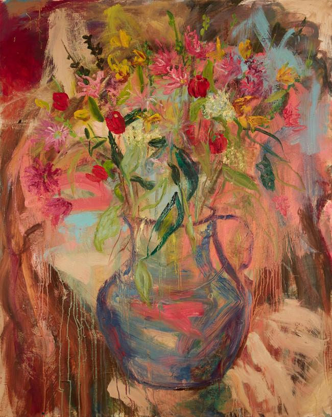 "Blue Vase with Tulips, 2019, oil on linen, 60"" x 48"", 152cm x 122cm"