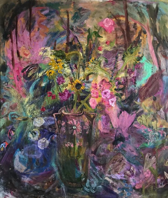 """Sunflower Dance, 2020, oil on linen 84""""x72"""", 213cm x 183cm"""
