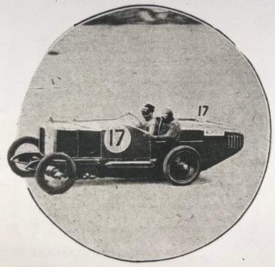 Alvis 12/50 driving to victory in the Brooklands 200 mile race in 1923 at 93 mph