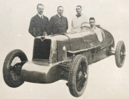 G T Smith Clark Chief Engineer and T G John with 1929 Eight Cylinder car taker of records up to 1000 at nearly 100 miles per hour
