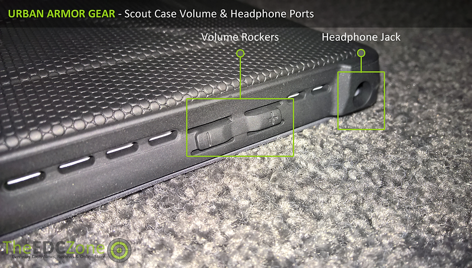 Close up of the UAG Scout case showing Volume & Headphone jack