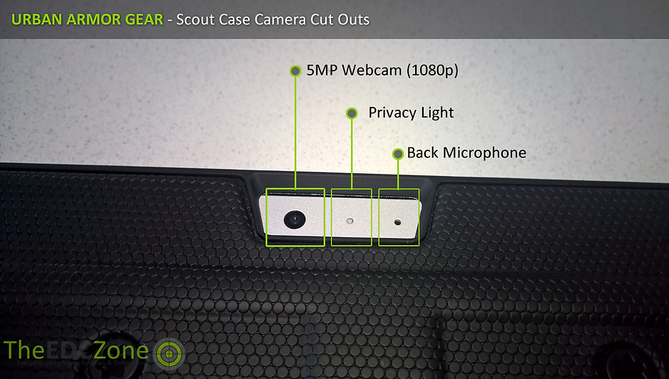 Close up of the UAG Scout case showing Camera cut outs