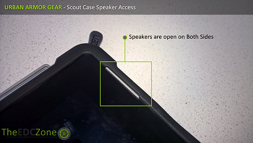 Close up of the UAG Scout case showing the open speaker section