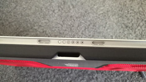 Close up of the UAG Scout case showing Type Cover connection port