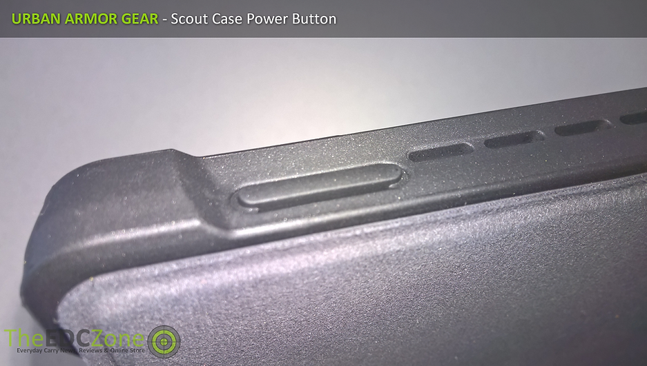Close up of the UAG Scout case showing Power Button