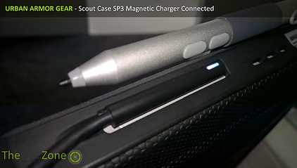 Close up of the UAG Scout case showing Charger connected