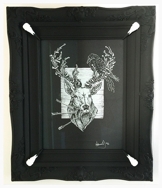 Alzig Rune Stag by Alexandria Noel in a hand finished frame.