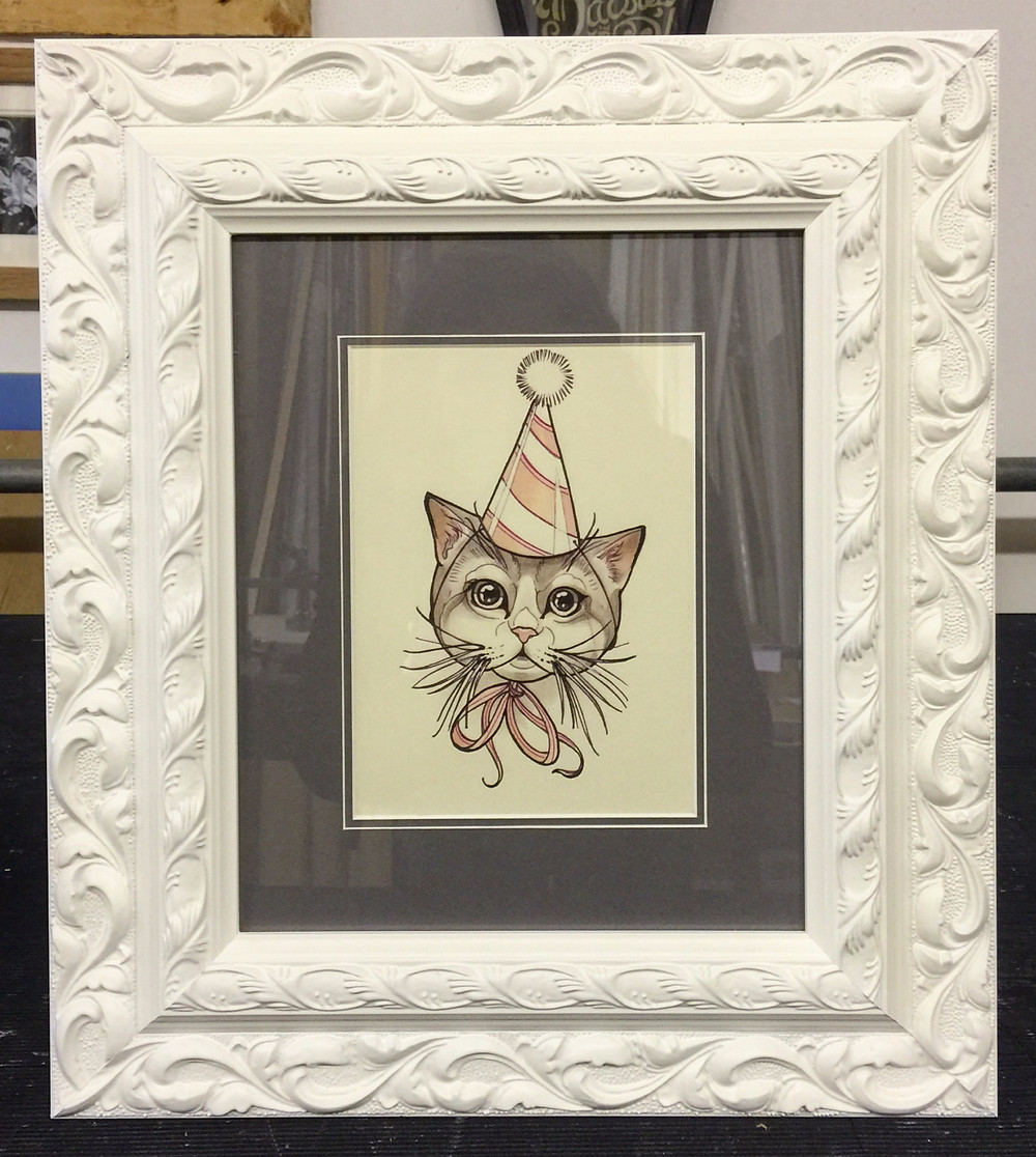 Mounted cat print in ornate style frame