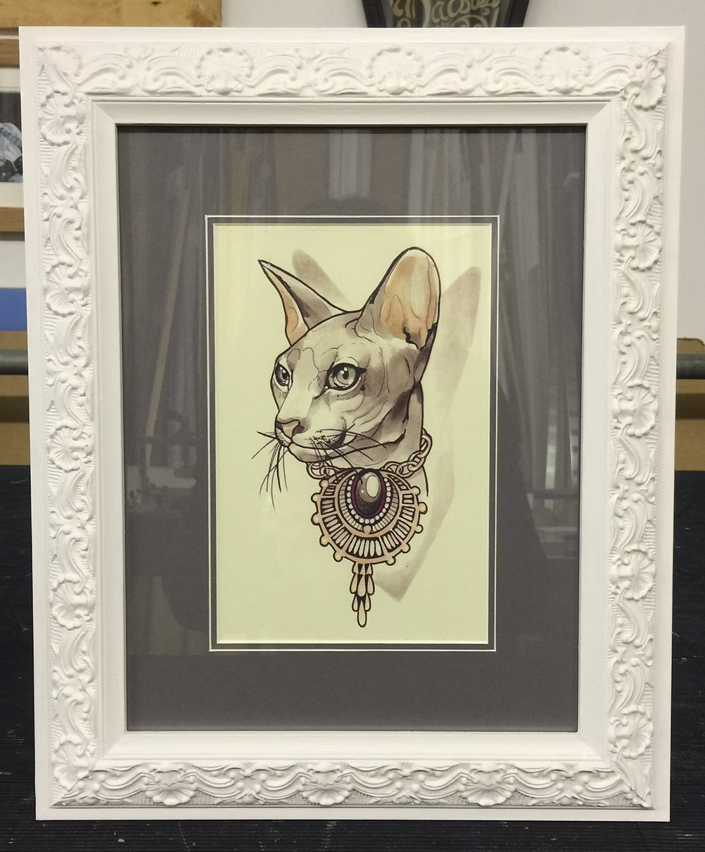 Mounted cat print in ornate style hand painted frame