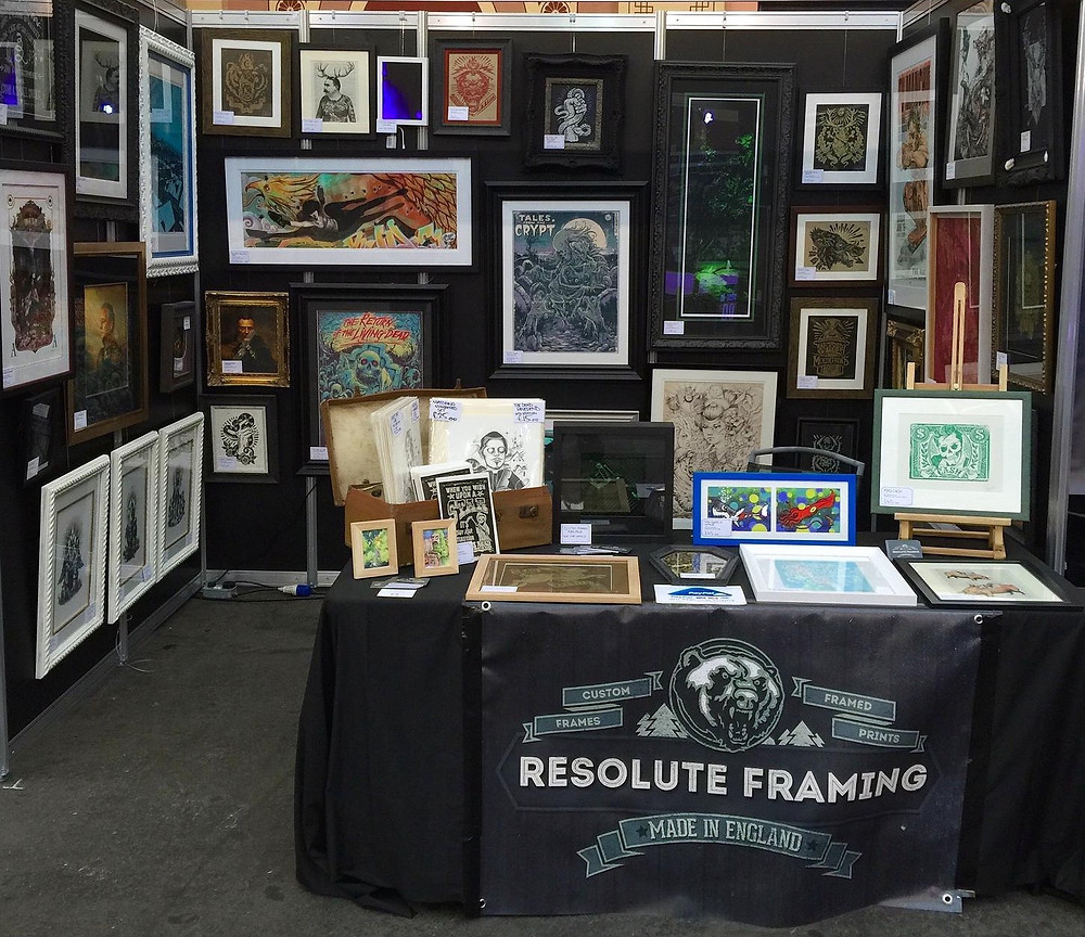 Resolute Framing trade booth displaying framed art at Great british tattoo show 2015