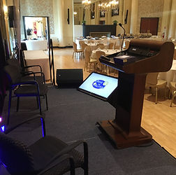 Confidence Monitor and Podium Mics for Keynote Speakers