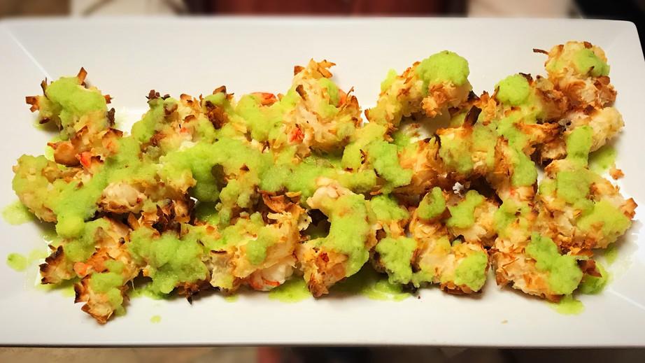 Crispy Baked Coconut Shrimp  with Honey Jalapeno Mango Puree