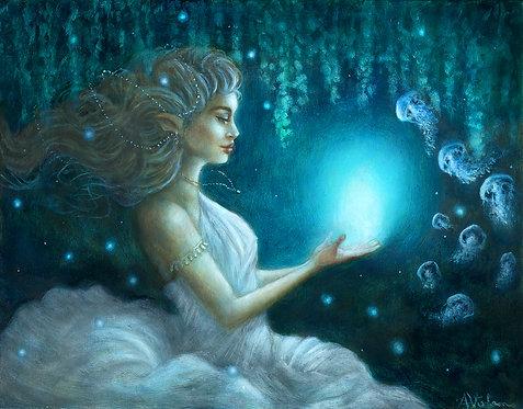 Nymph of Bioluminescence - Original Oil Painting