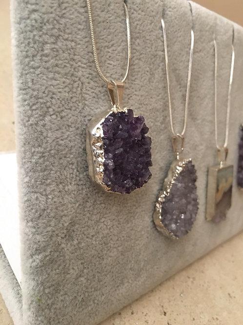 Purple jewel amethyst - silver bezel