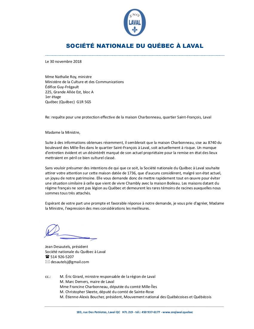 Lettre Ministre Roy - maison Charbonneau