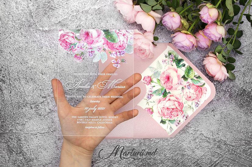 IS-017 Invitatie transparenta cu flori roz