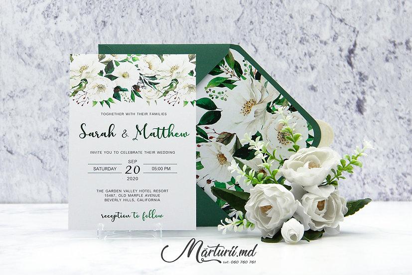 IN-068 Invitatie elegantă de nunta cu pioni albi cu frunze în plic verde
