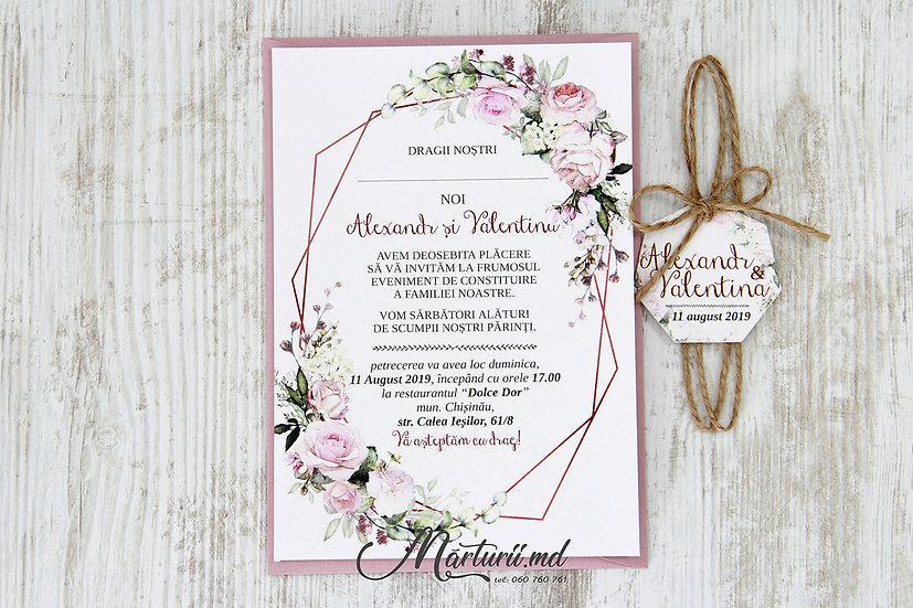 IN-039 Invitatie cu pioni roz