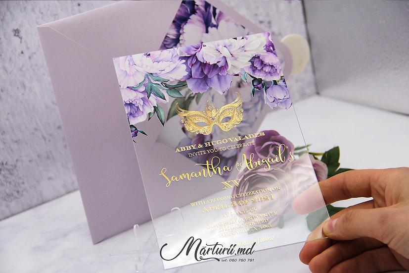 IS-025 Invitatie transparenta cu text auriu cu flori mov si albe