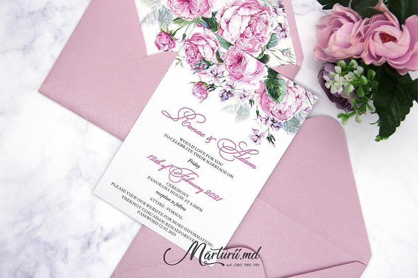 IN-070 Invitatie elegantă de nuntă cu pioni roz în plic sidefat
