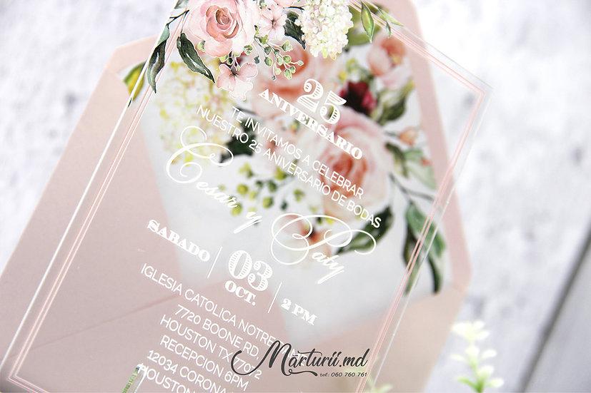 IS-024 Invitatie de nunta transparenta cu bujori culoare piersic