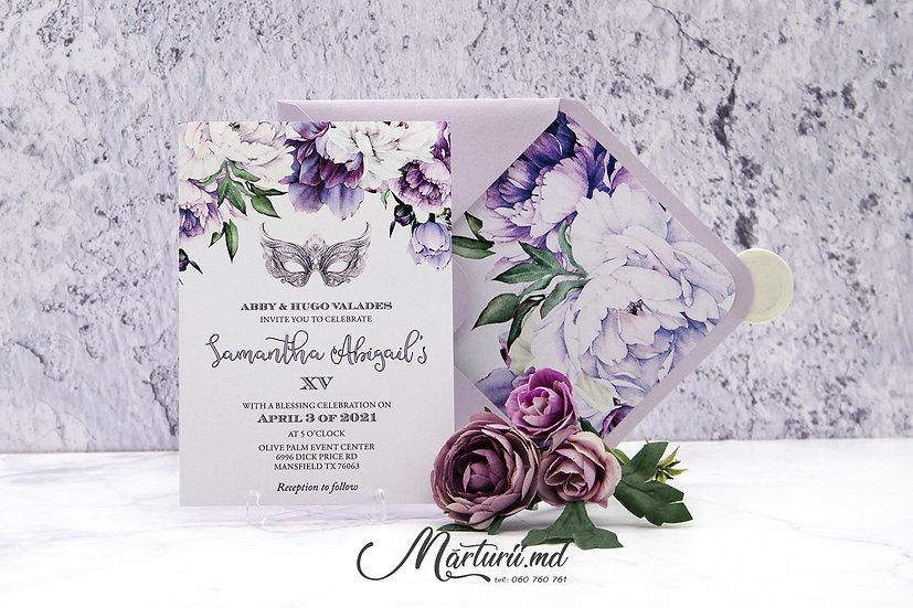 IN-072 Invitatie de nuntă, elegantă cu pioni mov și albi în plic sidefat