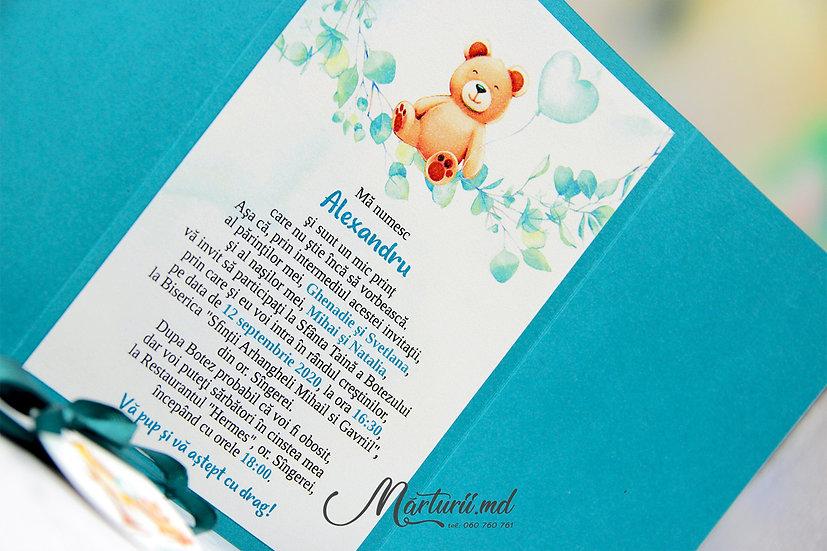 IC-020 Invitație pentru botez sau cumetrie cu ursuleț în copertă groasă