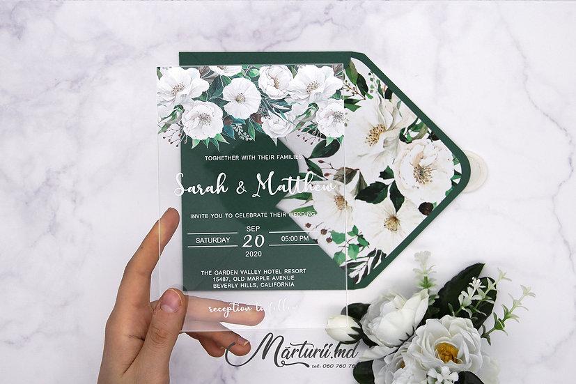 IS-023 Invitatie de nunta  transparenta cu bujori albi si frunze verzi