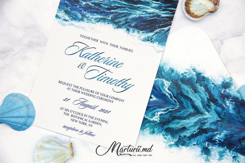 IN-069 Invitatie elegantă de nunta cu print marin