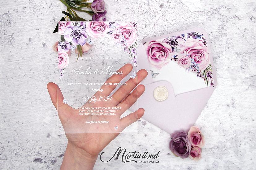 IS-018 Invitatie transparenta cu flori roz violet