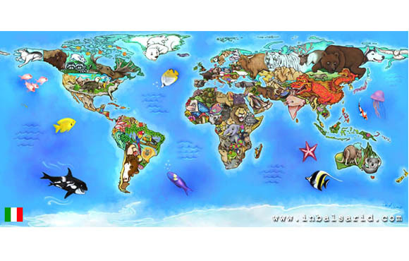 World map of animals