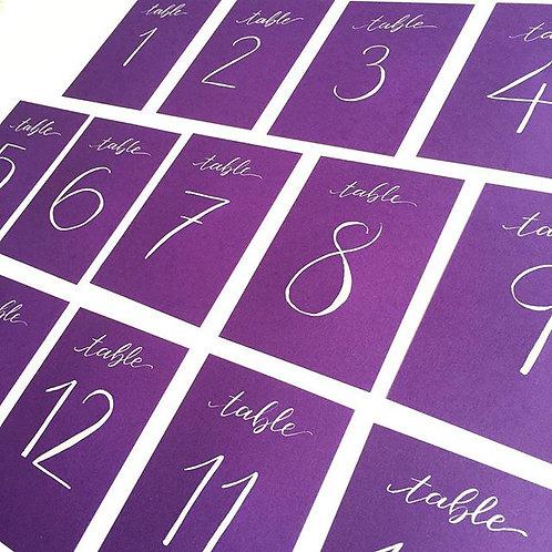 Purple Table Numbers