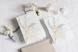 Rustic watercolor wedding invitations