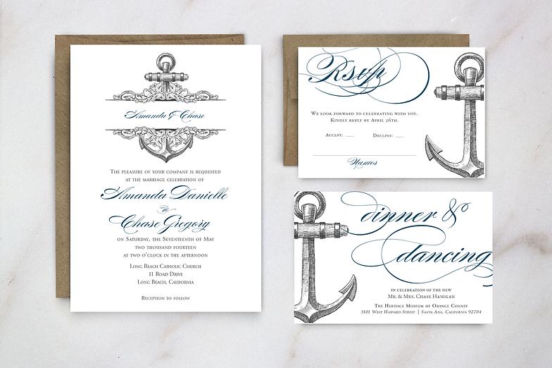Nautical Anchor Wedding Invitation Destination Boat