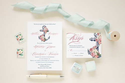 Nautical Floral Anchor Wedding Invitation Set