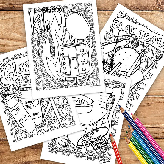 4 page Coloring Pottery Page