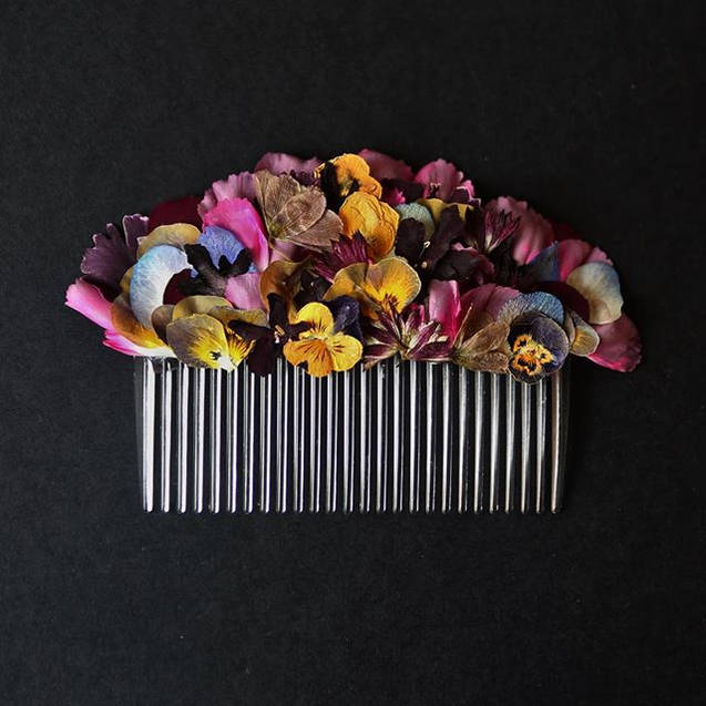 Pressed Flower Haircomb