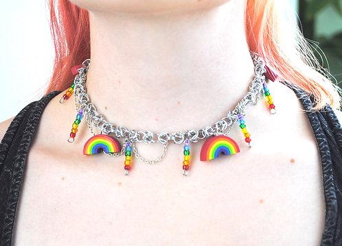 Rainbow chainmail choker by Hannah Frank