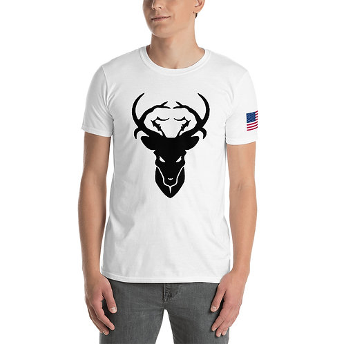 Bold Buck Logo Short Sleeve Cotton T-Shirt With American Flag On Sleeve