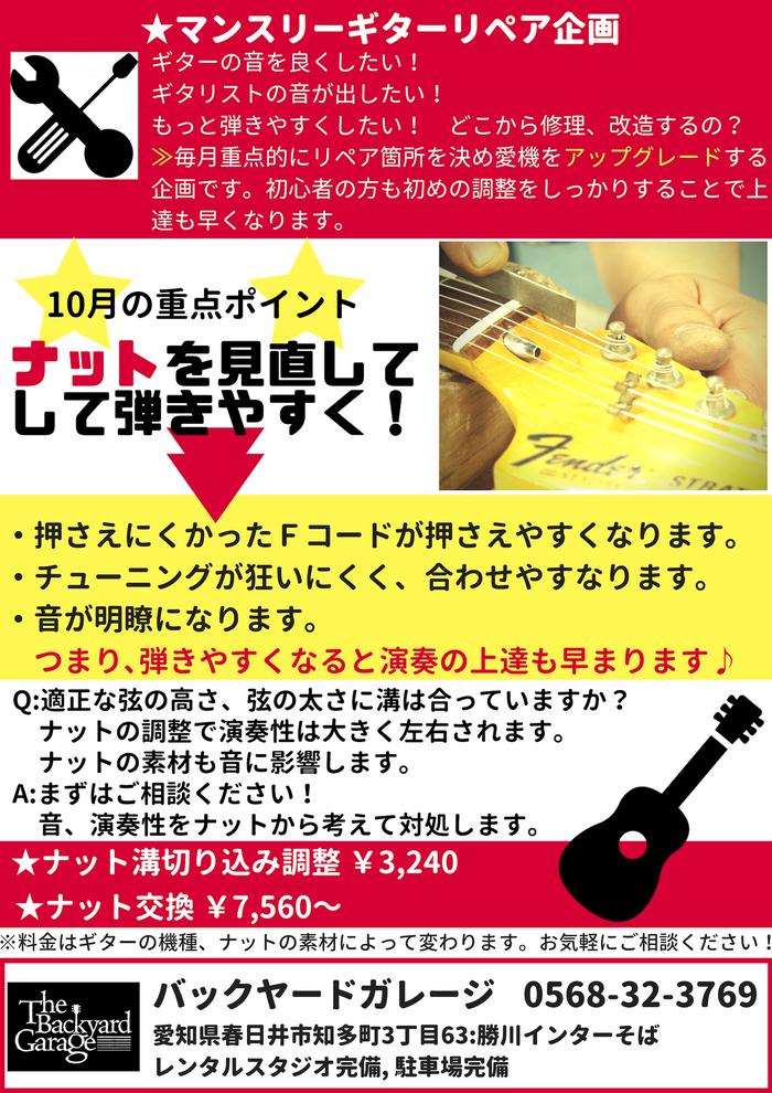 マンスリーギターリペア企画:10月は【ナット】