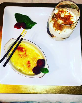 Crème brûlée vanilla & Tiramisu with pears, speculoos & chocolate spread