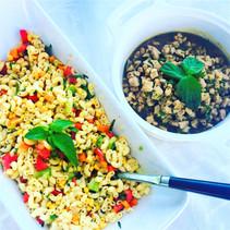 Sauteed pork (Thaï recipe) & pasta salad